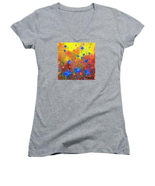 Blue Posies Women's V-Neck T-Shirt (Junior Cut) by Tracy Bonin