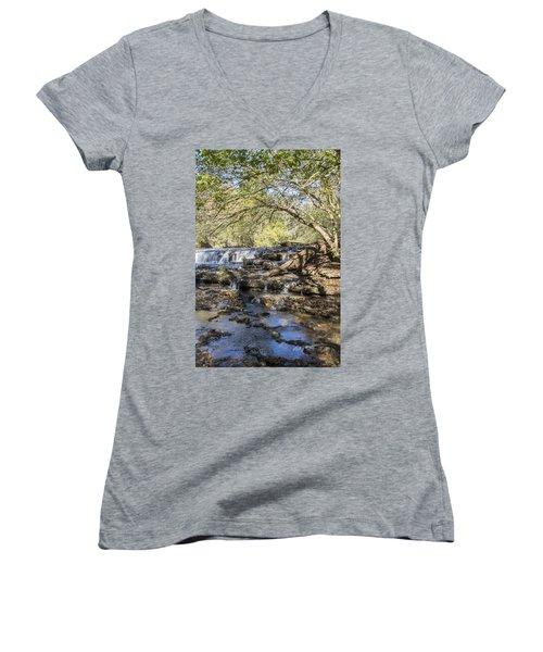 Blue Puddle Falls Women's V-Neck T-Shirt (Junior Cut) by Ricky Dean