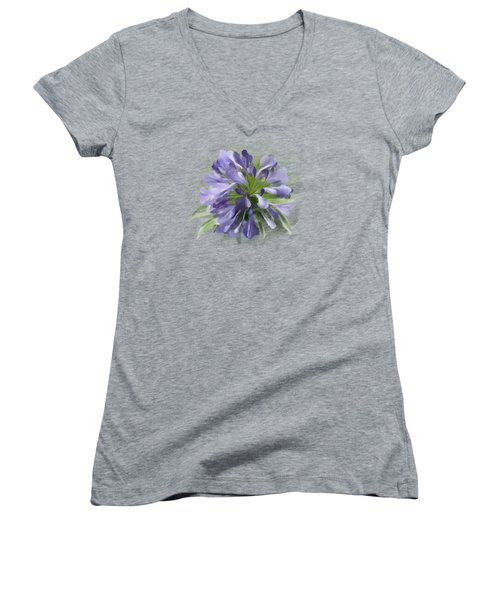 Blue Purple Flowers Women's V-Neck T-Shirt