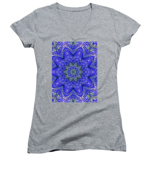 Blue Purple Lavender Floral Kaleidoscope Wall Art Print Women's V-Neck T-Shirt (Junior Cut) by Carol F Austin