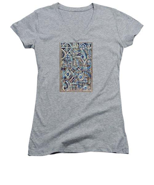 Blue Raucous Women's V-Neck T-Shirt (Junior Cut) by Paul Moss