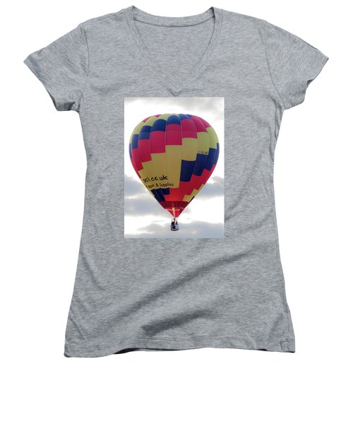 Blue, Red And Yellow Hot Air Balloon Women's V-Neck T-Shirt