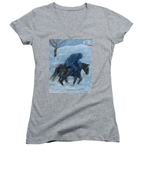 Blue Rider On Horse Women's V-Neck