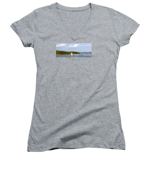 Women's V-Neck T-Shirt (Junior Cut) featuring the photograph Blue Ridge Dam by Michael Waters