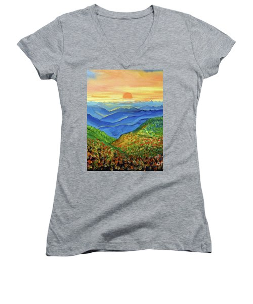 Women's V-Neck T-Shirt (Junior Cut) featuring the painting Blue Ridge Mountain Morn by Ecinja Art Works