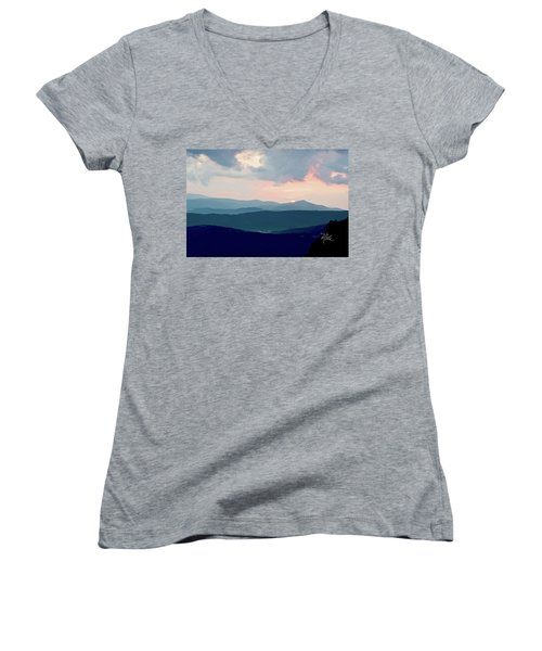 Blue Ridge Mountain Sunset Women's V-Neck T-Shirt