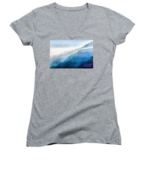 Women's V-Neck T-Shirt featuring the painting Blue Ridge Mountians by Edward Fielding