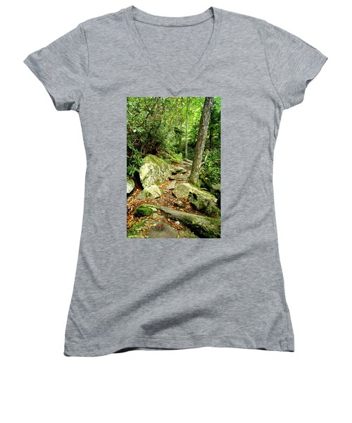 Women's V-Neck T-Shirt (Junior Cut) featuring the photograph Blue Ridge Parkway Hiking Trail by Meta Gatschenberger