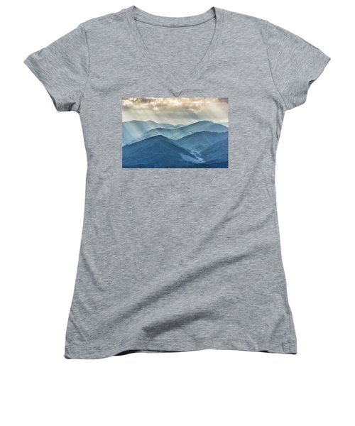 Blue Ridge Sunset Rays Women's V-Neck (Athletic Fit)