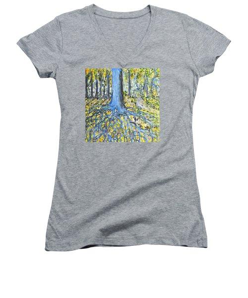 Blue Roots Women's V-Neck T-Shirt (Junior Cut) by Evelina Popilian