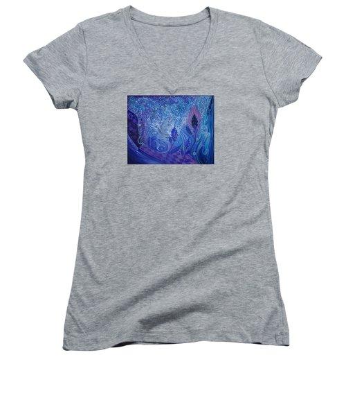 Blue Rosebud Ballroom Women's V-Neck T-Shirt (Junior Cut) by Adria Trail