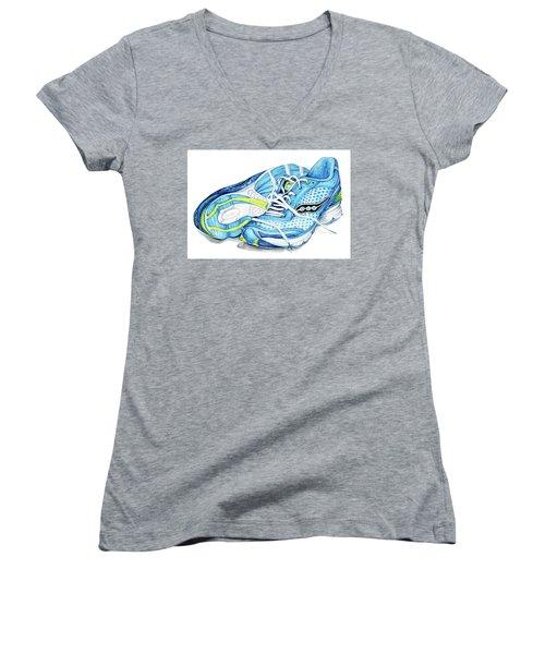 Blue Running Shoes Women's V-Neck T-Shirt (Junior Cut) by Heidi Kriel