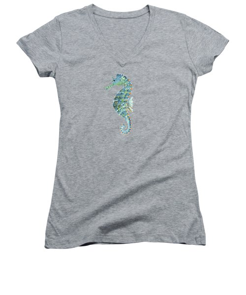 Blue Seahorse Women's V-Neck (Athletic Fit)