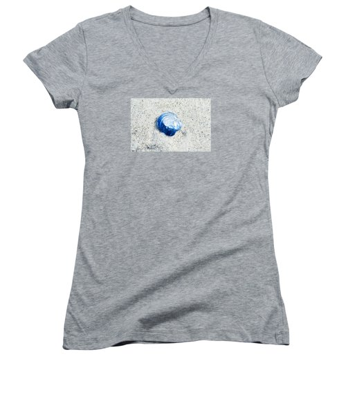 Women's V-Neck T-Shirt (Junior Cut) featuring the painting Blue Seashell By Sharon Cummings by Sharon Cummings
