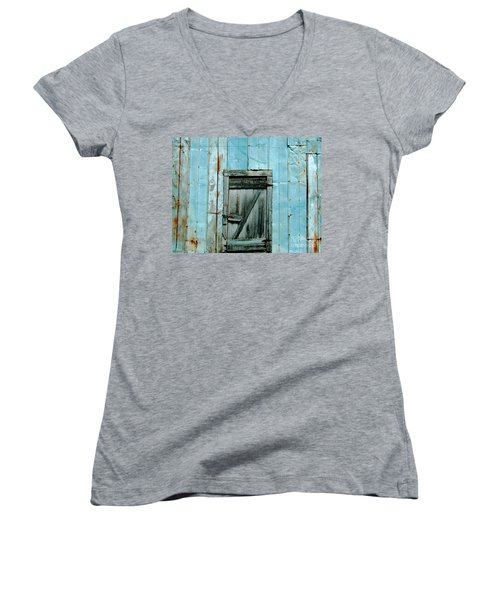Blue Shed Door  Hwy 61 Mississippi Women's V-Neck (Athletic Fit)