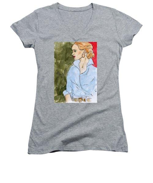 Blue Shirt Women's V-Neck T-Shirt (Junior Cut)