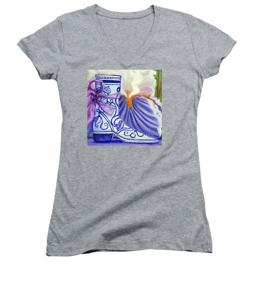 Blue Shoe, Painting Of A Painting Women's V-Neck T-Shirt