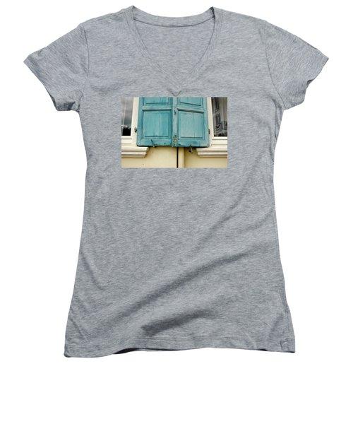 Women's V-Neck T-Shirt (Junior Cut) featuring the photograph Blue Shutters Rudesheim by KG Thienemann