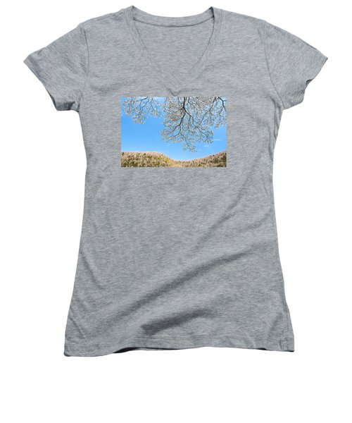 Women's V-Neck T-Shirt (Junior Cut) featuring the photograph Blue Skies And Dogwood by Tamyra Ayles