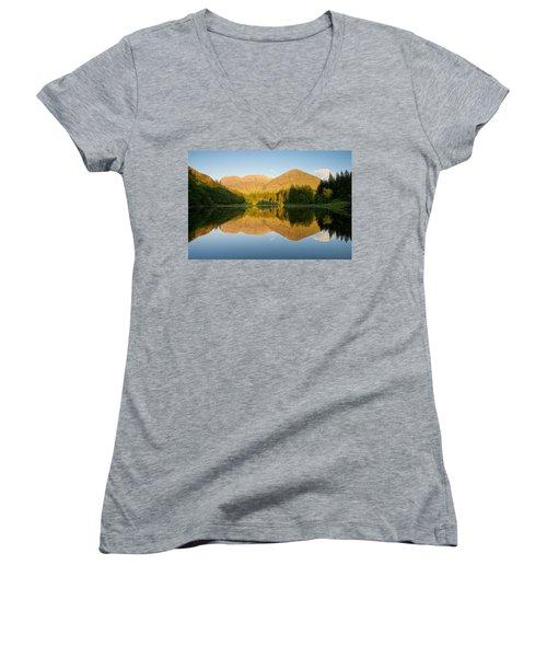 Blue Skies At Torren Lochan Women's V-Neck T-Shirt (Junior Cut) by Stephen Taylor