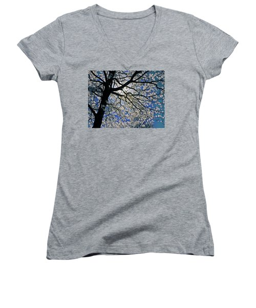 Women's V-Neck T-Shirt (Junior Cut) featuring the photograph Blue Skies Smiling At Me by Linda Unger