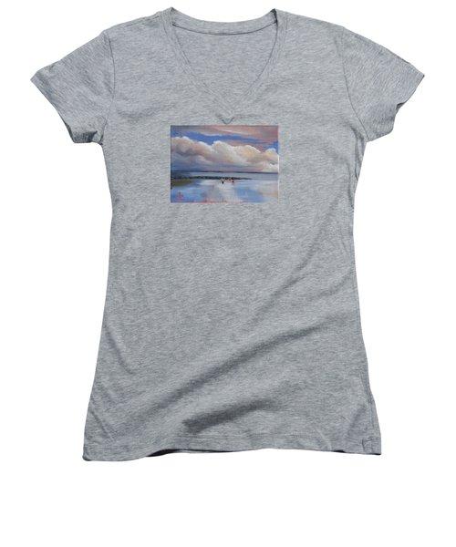Blue Sky And Clouds I Women's V-Neck T-Shirt (Junior Cut) by Trina Teele
