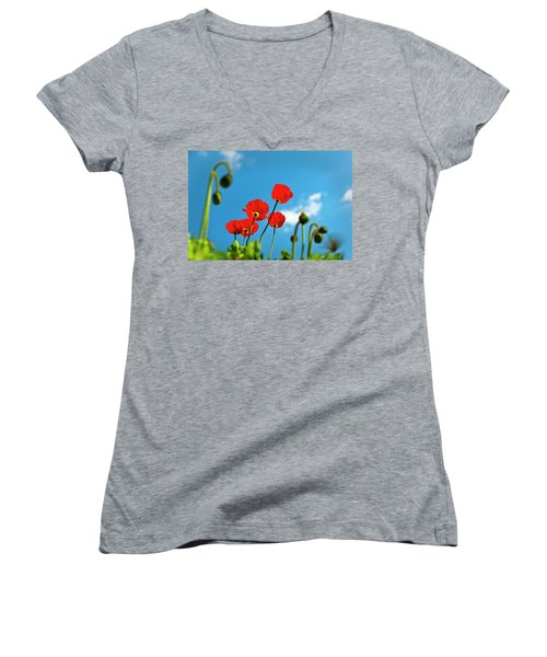 Women's V-Neck T-Shirt (Junior Cut) featuring the photograph Blue Sky And Poppies by Tamyra Ayles