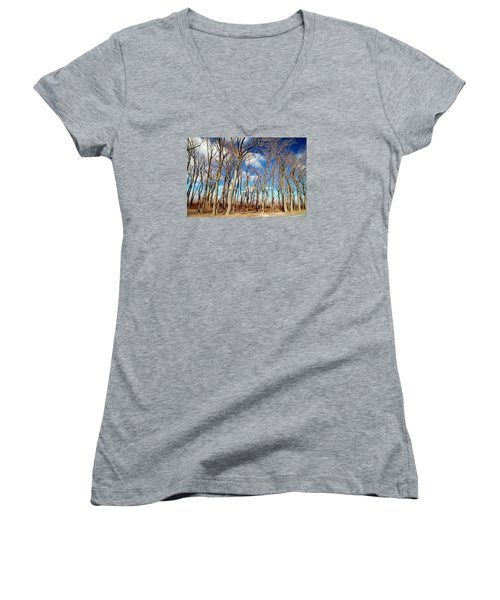 Women's V-Neck T-Shirt (Junior Cut) featuring the photograph Blue Sky And Trees by Valentino Visentini