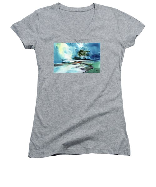 Women's V-Neck T-Shirt (Junior Cut) featuring the painting Blue Sky by Anil Nene