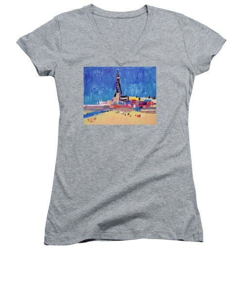 Blue Sky Blackpool Women's V-Neck T-Shirt (Junior Cut) by Nop Briex