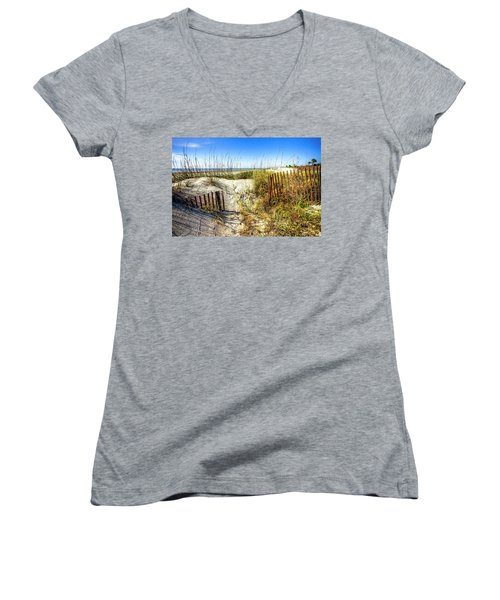 Women's V-Neck T-Shirt (Junior Cut) featuring the photograph Blue Sky Dunes by Debra and Dave Vanderlaan