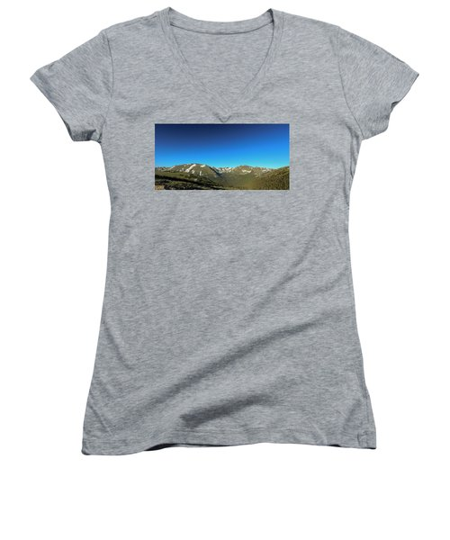 Blue Skys Over The Rockies Women's V-Neck