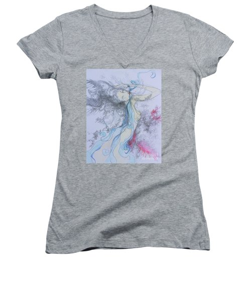 Blue Smoke And Mirrors Women's V-Neck T-Shirt (Junior Cut) by Marat Essex