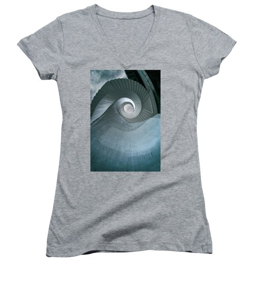 Women's V-Neck T-Shirt (Junior Cut) featuring the photograph Blue Spiral Stairs by Jaroslaw Blaminsky