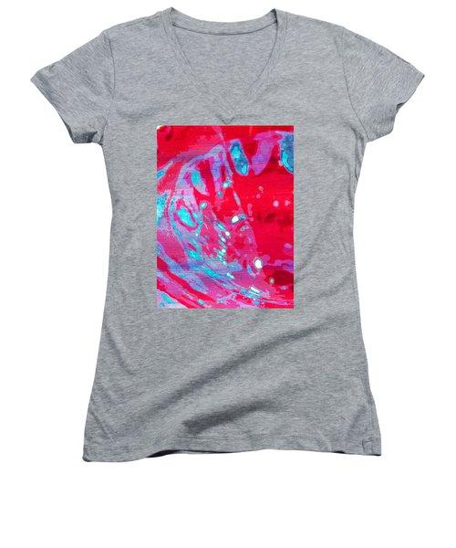 Blue Splash Women's V-Neck T-Shirt (Junior Cut) by Samantha Thome