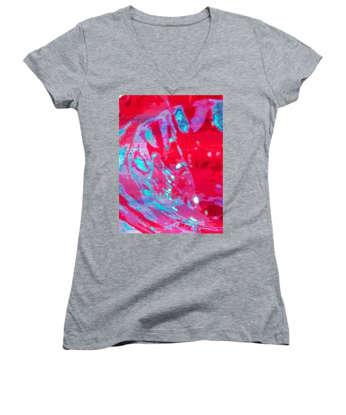 Blue Splash Women's V-Neck T-Shirt (Junior Cut)
