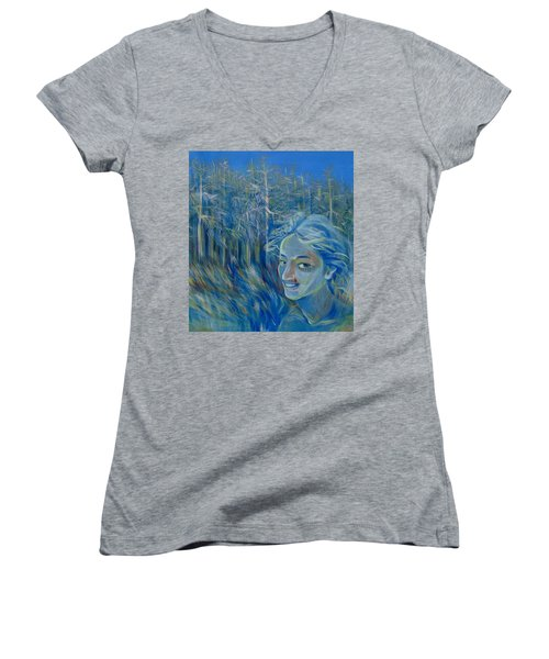 Women's V-Neck T-Shirt (Junior Cut) featuring the painting Blue Spring by Anna  Duyunova