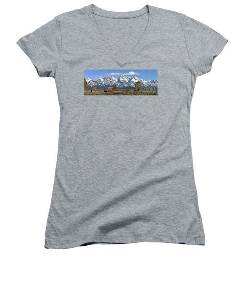 Blue Spring Skies Over Mormon Row Women's V-Neck T-Shirt (Junior Cut) by Adam Jewell