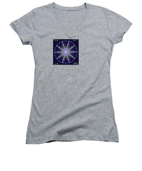 Women's V-Neck T-Shirt (Junior Cut) featuring the photograph Blue Star by Shirley Moravec