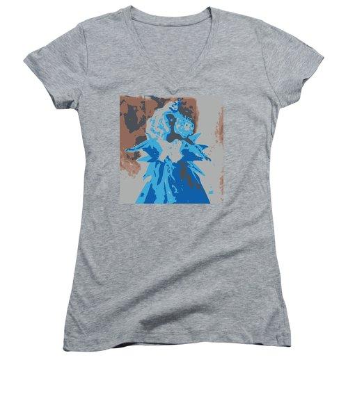 Blue Sunflower Barbie Women's V-Neck T-Shirt (Junior Cut) by Karen J Shine