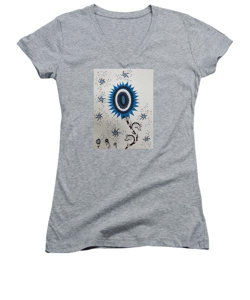 Blue Sunflower Women's V-Neck T-Shirt