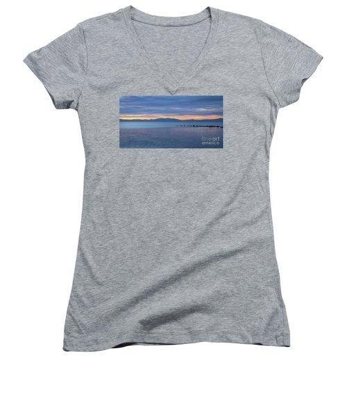 Blue Tahoe Sunset Women's V-Neck T-Shirt (Junior Cut) by Mitch Shindelbower