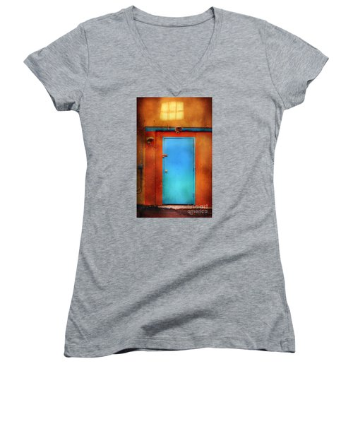 Blue Taos Door Women's V-Neck T-Shirt (Junior Cut) by Craig J Satterlee