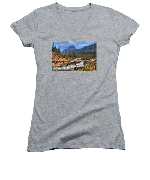 Women's V-Neck T-Shirt (Junior Cut) featuring the photograph Blue Through The Yoho Valley by Adam Jewell