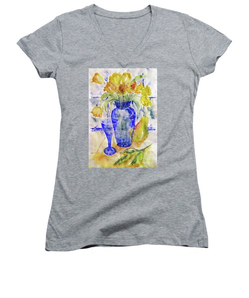 Women's V-Neck T-Shirt (Junior Cut) featuring the painting Blue Vase by Jasna Dragun