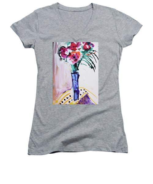 Blue Vase With Red Wild Flowers Women's V-Neck T-Shirt