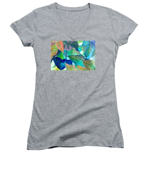 Women's V-Neck T-Shirt (Junior Cut) featuring the photograph Blue Velvet by Bobby Villapando