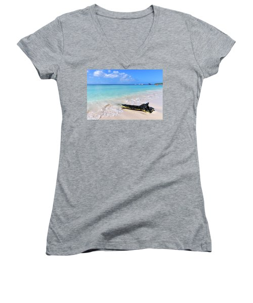 Blue Water And White Sand Women's V-Neck T-Shirt