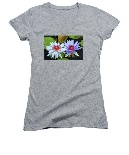 Women's V-Neck T-Shirt (Junior Cut) featuring the photograph Blue Water Lilies by Judy Vincent