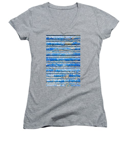 Blue Weathered Metal  Women's V-Neck (Athletic Fit)